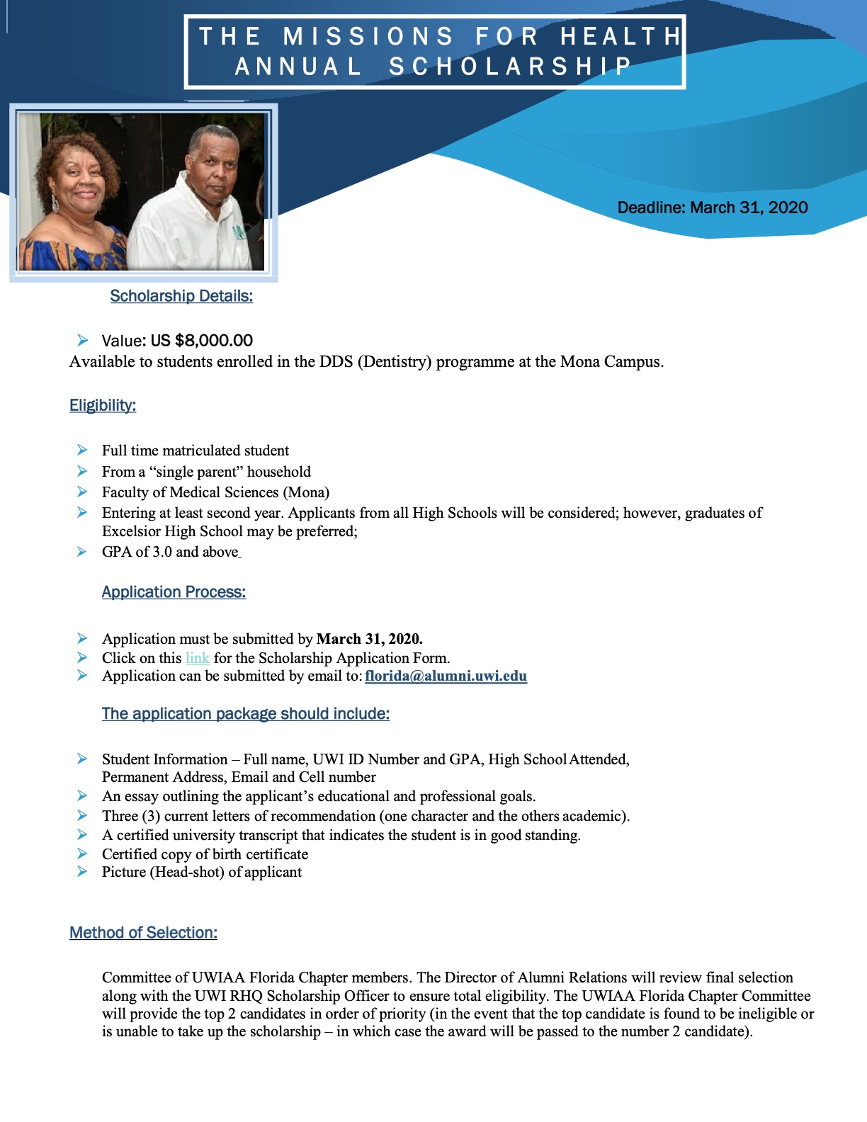 2020 Missions for Health Annual Scholarship
