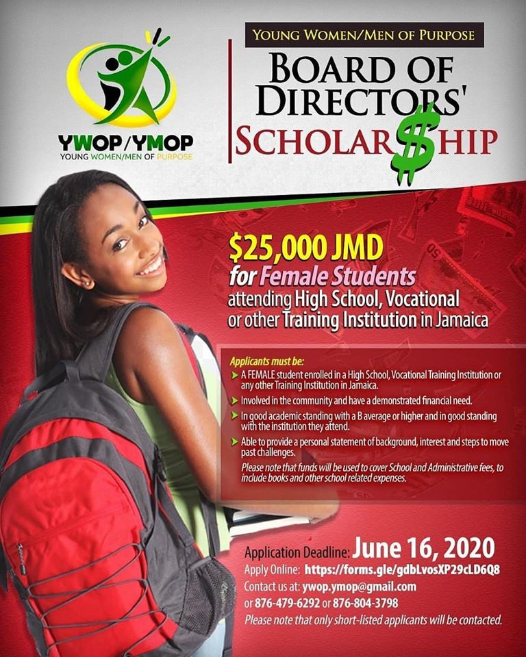 YWOP/YMOP is inviting FEMALE high school, Vocational/Training Institution students to apply for the Board of Directors' Scholarship of J$25k