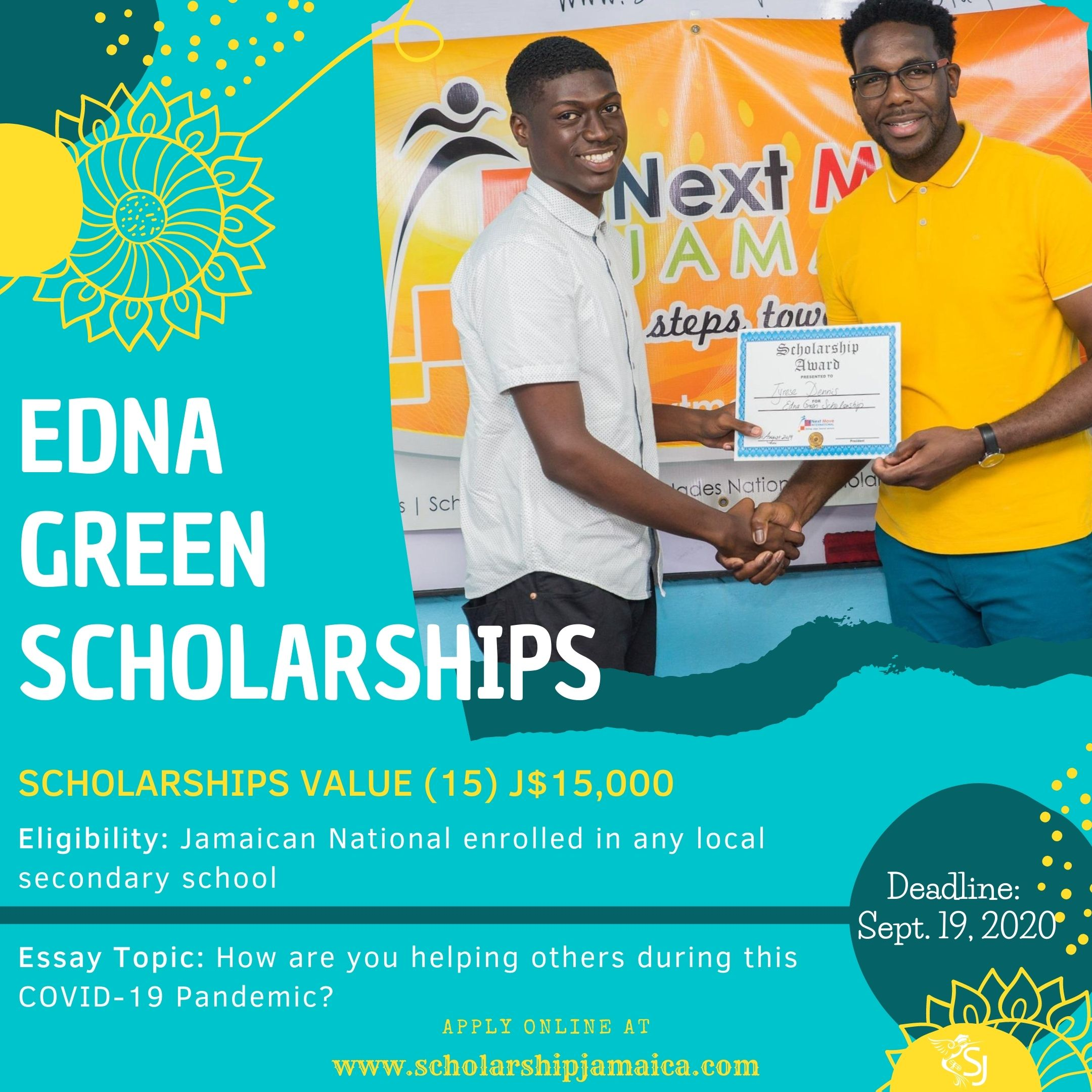 Edna Green Endowment Scholarship programme is offering 15 scholarships in the value of J$15,000 each to qualified and needy students in Jamaica.