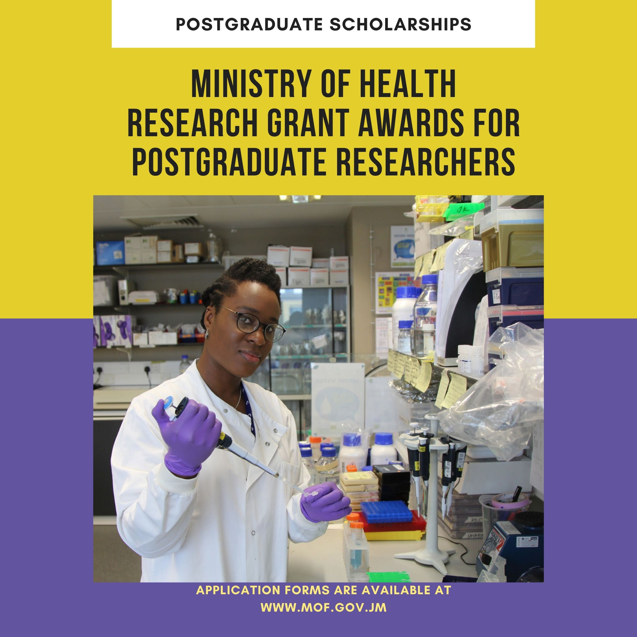 Apply for the Ministry of Health research grant awards for postgraduate researchers programme. 3 awards of J$1.5M each - including admin fees.