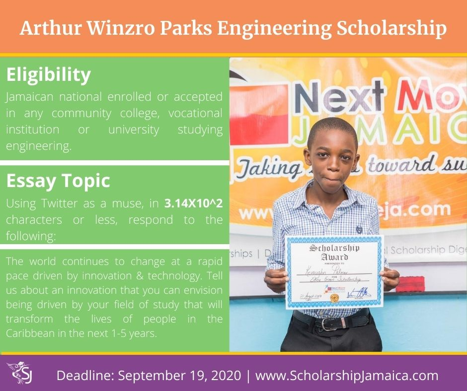Apply for the 2020 Arthur Winzro Parks Engineering Scholarship. The award is available to all local students enrolled in engineering studies.