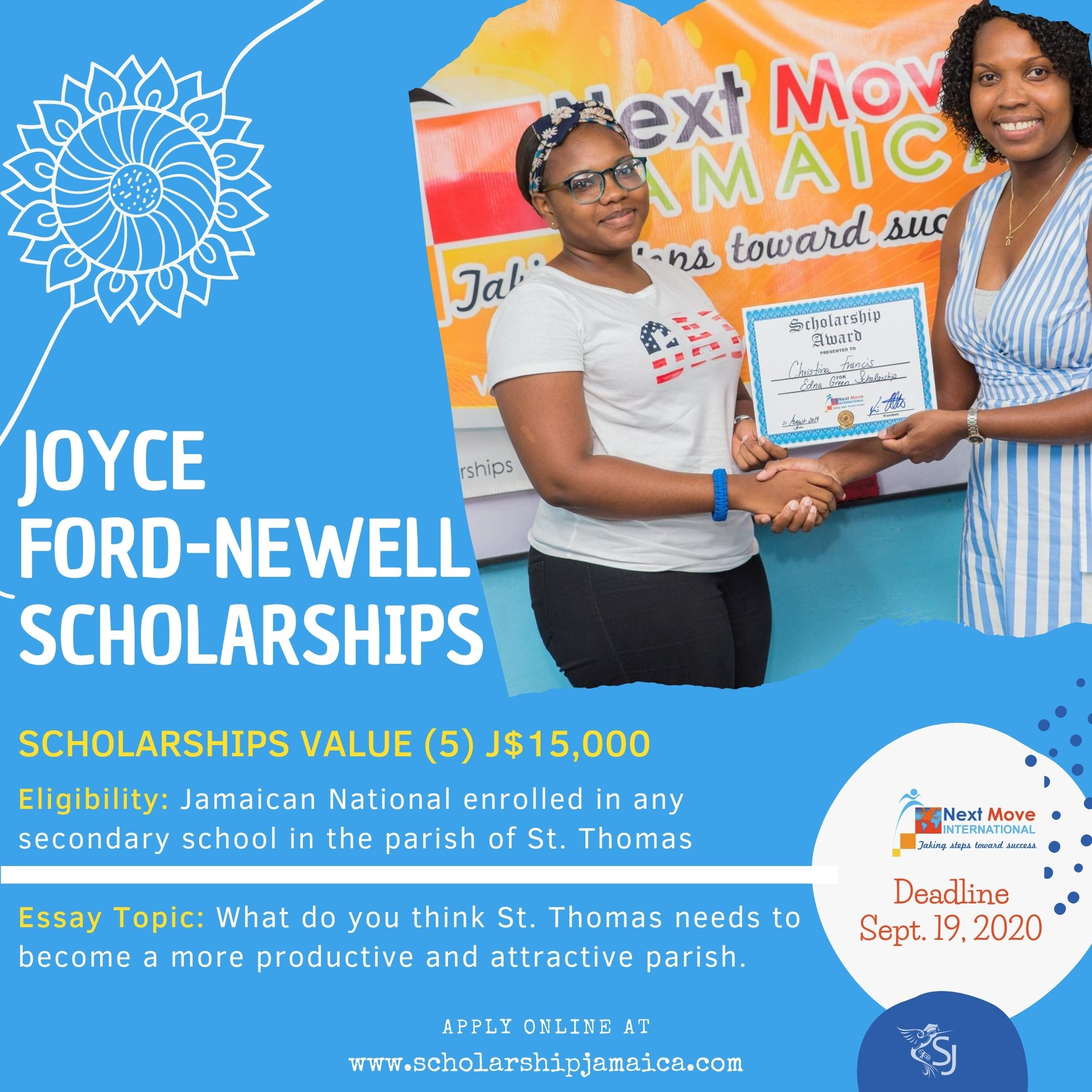 The Joyce Ford-Newell Scholarships for St. Thomas students are open to enrolled students in the parish, especially Seaforth High School students.