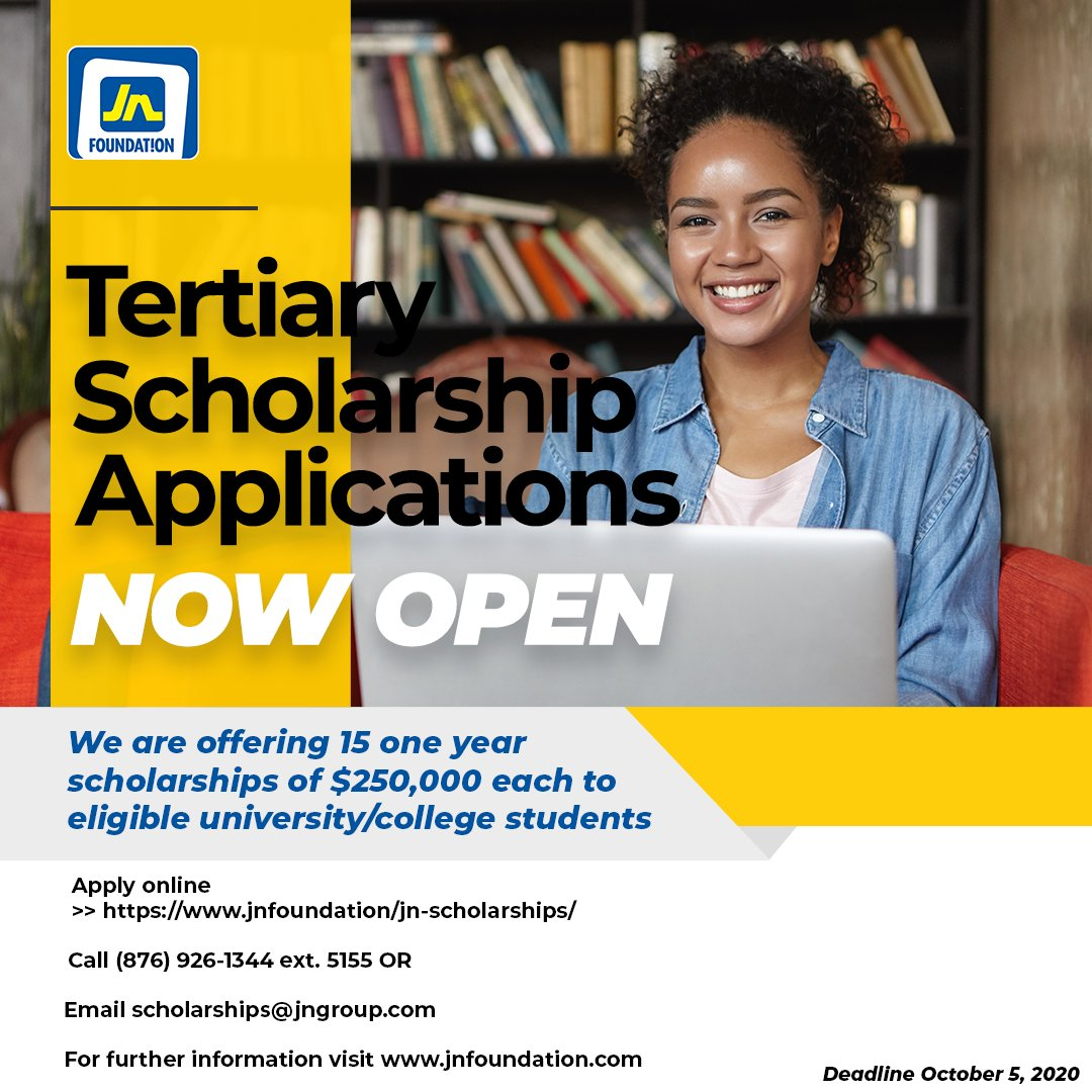 JN Foundation is offering 15 tertiary scholarships to attend universities and colleges in Jamaica for the 2020/2021 academic year.