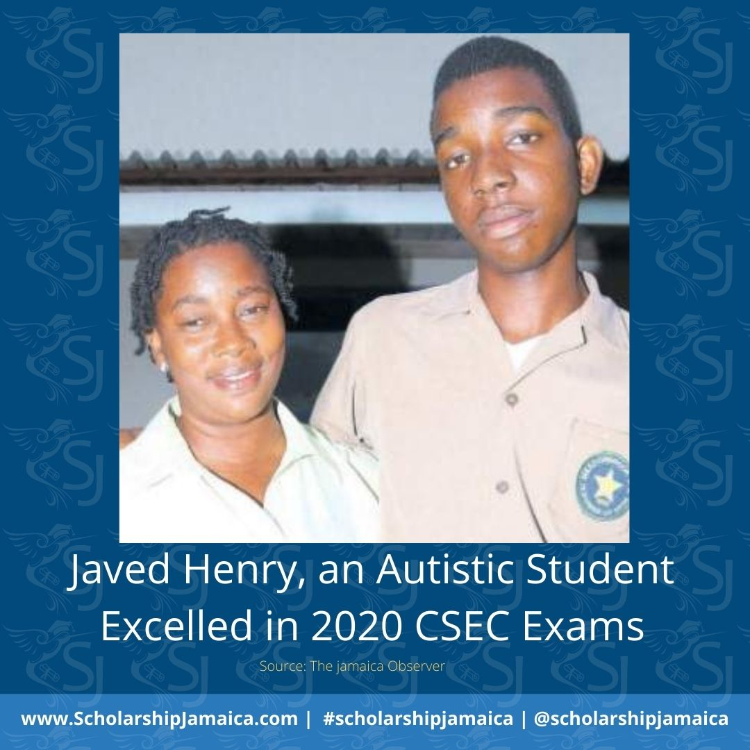 "Javed Henry, an autistic student received excellent results in the 2020 Caribbean Secondary Education Certificate (CSEC) examinations. ""I feel very excited and glad about the passes."