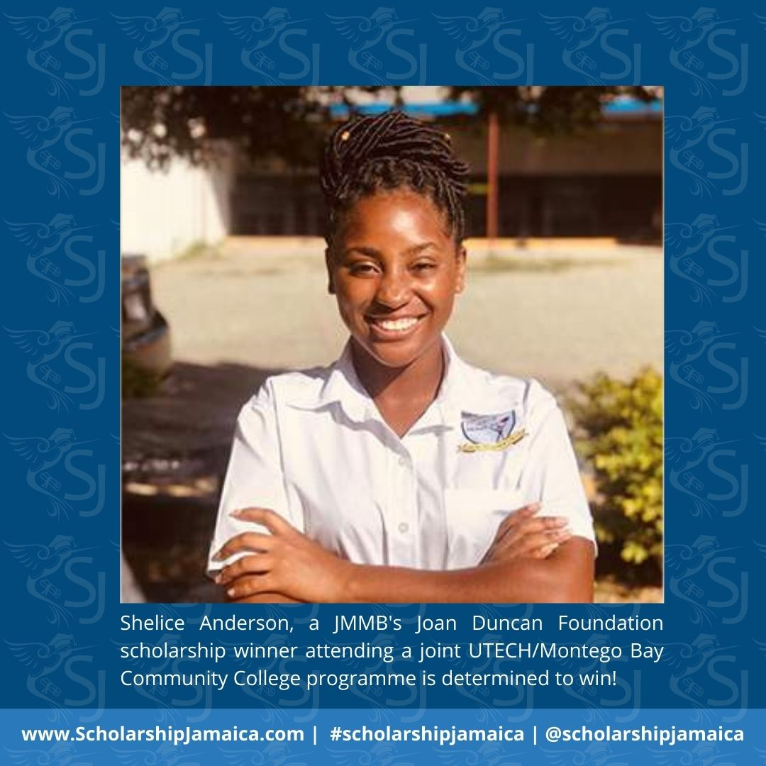 Shelice Anderson, a JMMB's Joan Duncan Foundation scholarship winner attending a joint UTECH/Montego Bay Community College programme is winning