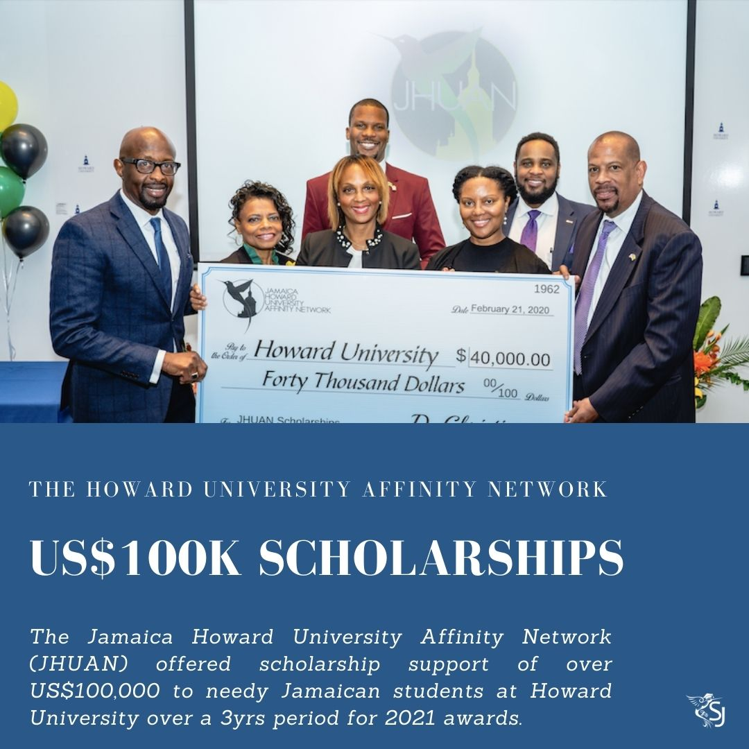Jamaica Howard University Affinity Network (JHUAN) offered scholarship support of US$100,000 to needy Jamaican students at Howard University over a 3yrs period
