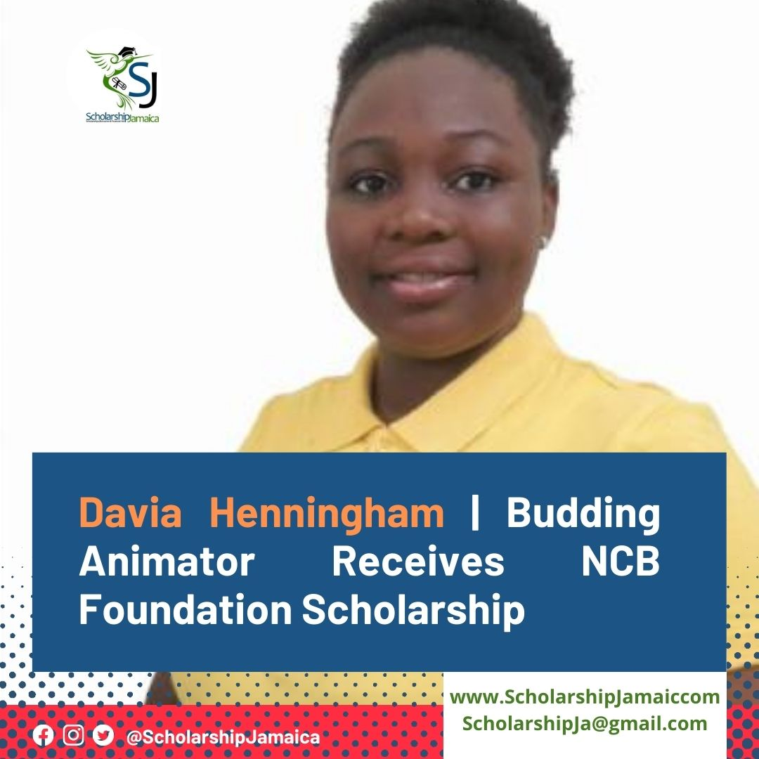 Davia Henningham, a budding animator is 'grateful' for opportunity to further dreams with a NCB Foundation Scholarship.